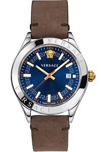 Versace Men's Watch VEVK00220 Hellenyium Leather Swiss Made Brand Watch New