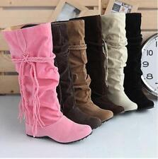 Women Suede Mid Boots Tassel Strappy Round Toe Slip On Shoes Fashion Hidden Heel