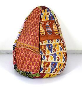 Vintage Handmade Cotton Floral Kantha Bohemian Indian Round Pouf Gypsy Bean Bag