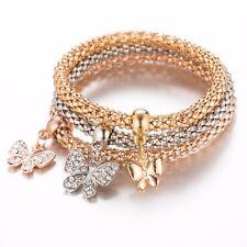 Combo 3 Types Vintage Crystal Butterfly Charms Elastic Popcorn  Trendy Bracelet