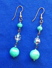 Vintage 1930s green & clear crystal glass bead dangle earings on gold hooks