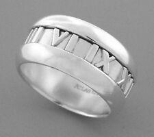 Roman Numerals Wedding Band Size 5.5 Tiffany & Co. Sterling Silver Atlas