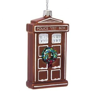 Doctor Who Gingerbread Tardis Glass Ornament