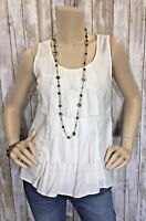 FEI Anthropologie Size 6 White Tiered Ruffle Tank Top Sleeveless Shirt EUC!