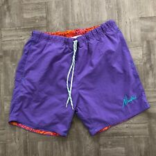 Vintage Nautica 80's 90's Swim Shorts Purple Trunks Mens Size Small Spell Out