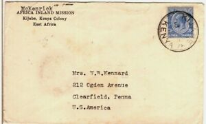1932 Kijabe Kenya East Africa Inland Mission Cover to Clearfield Pennsylvania