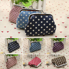 Korean Womens Ladies Coin Pouch Card Holders Keys Case Wallet Dotted Clasp Purse