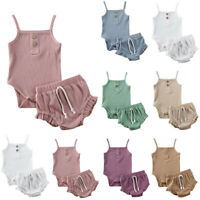 Newborn Infant Baby Girl Strap Solid Romper Tops Shorts Pant Set Summer Outfits