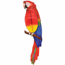 58.5cm Tropical Hawaiian Luau Party Hanging Tiki Parrot Honeycomb Decoration