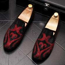 Mens rhinestone Genuine Leather party Slip On Loafers shoes Driving Moccasin New
