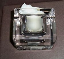 "Vera Wang Wedgwood Lead Crystal Votive Candle Holder 3"" Square W/ Dots Signed"