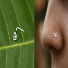 Love Heart Stud Surgical Bone Pin Piercing 1pc 925 silver Nose Ring Curved Bar