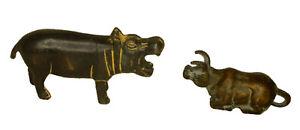 Bull & Hippopotamus Kids Toy Antique Style Brass Handmade Paperweight Figurine