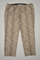 Chico's 4 / 20 Plus Gold Print Side Zip Slim Ankle Dress Pants
