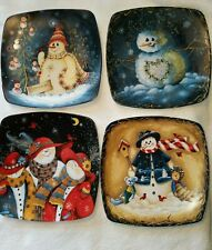 Snowman Decorative Plate Set of 4 Vintage Square