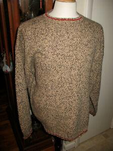 Eddie Bauer Vintage Men's XL 100% Wool SKI Sweater Tan Khaki Beige X Large