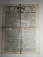 N429 La Une Du Journal  L'éclair 23 janvier 1905 les troupes  Saint-Pétersbourg