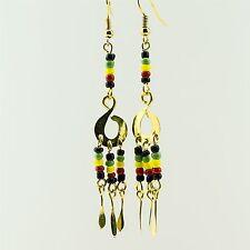 Rasta Colors Bead Earrings 168-26 African Jewelry Handmade Brass Masai Maasai