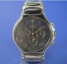 Zenith Academy Mondphasen Chronograph automatic Stahl Uhr cal. 410 mit Box watch