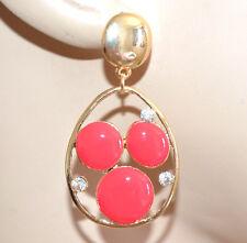 ORECCHINI donna pendenti oro pietre rosso corallo strass brillantini regalo A69
