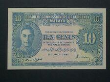 **** Scarce KG  Crisp  Malaya  'UNC'   10 Cent 1941  BANKNOTE***
