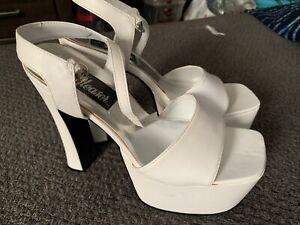 Pleaser Platform Heels, White,  size 10