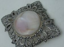 Vintage Sterling Silver Pin Open Work Marcasite Design MOP Abalone Shell Insert