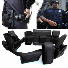Black Tactical Nylon police Security Guard Duty Belt Utility Kit System w/ PouUB