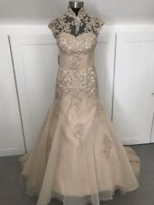 Exquisite Size 6-8 Petite Sparkling Champagne Wedding/Evening/Prom Dress