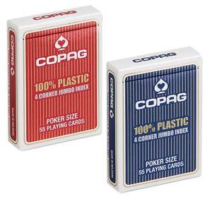 Cartes POKER COPAG 100% Plastic JUMBO 4 Corners - Lot de 2 Jeux