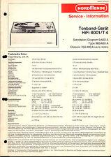 Nordmende Service Manual für Tonband HiFi 8001/T4