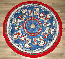 Angels on High RED Religious Handmade Finished Fabric Christmas Tree Skirt  60""