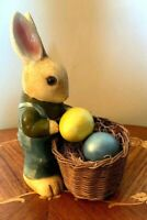 VINTAGE 1970's CERAMIC EASTER BUNNY/RABBIT FIGURE WITH BASKET-JAPAN-BY MIDWEST