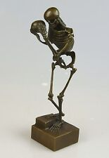 SQUELETTE PENSEUR bronze personnage the Skeleton Thinker Statue H: 29 cm