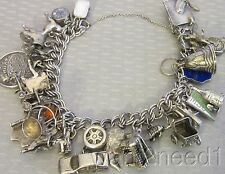 old vtg FULL STERLING SILVER CHARM BRACELET extra loaded 28p movable MSU 76g