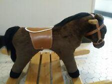 Melissa & Doug Plush Rocking Horse With Wood Base RARE Large Great!