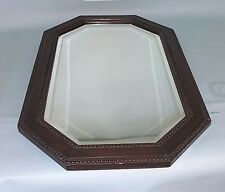 English Antique Oak Wall Mirror. Beveled Glass. Beaded Details. Large Size.