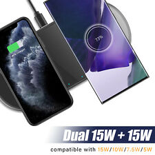 For Samsung Galaxy Note 20 Ultra 5G Dual Wireless Fast Charger Station Pad Dock