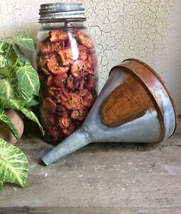 "Rustic Galvanized Rusty Tin Funnel 8"" Planter Vase Primitive Country Farmhouse"