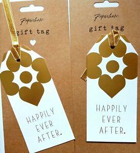 2 x luxury wedding large gift tag present metallic gold printed ribbon 13x6cm