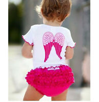 Baby Girl Infant Toddler Angel Top+Ruffle Pants Shorts Set Clothes Outfit  0~18M