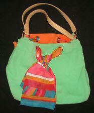 BCBG GIRLS GREEN PURSE HANDBAG CANVAS TOTE CLUTCH HAND BAG Scarf  Bag Women's