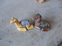 "Lot of 2 Small Handmade Ceramic Sitting Camel Figurines 1 1/4"" Tall LOOK"
