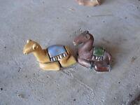 "Lot of 2 Small Handmade Ceramic Sitting Camel Figurines 1 1/4"" Tall LOOK"