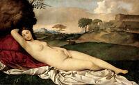Huge Oil painting nude fairy Sleeping Venus in landscape no framed canvas
