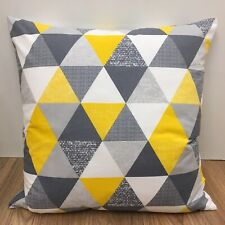 743. Handmade YELLOW AND GREY TRIANGLES 100% Cotton Cushion Cover Various sizes