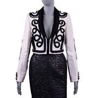 DOLCE & GABBANA Silk Velvet Torero Embroidered Jacket Blazer White Black 05279