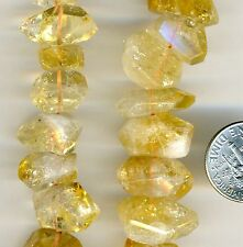 "CITRINE Natural Stone Large Faceted Nuggets  Short Side Drilled 16""  strand"