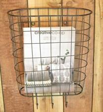 Metal Wire Basket Wall Pocket Organizer with 3 Hooks Home Office