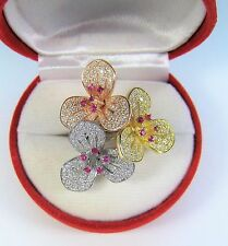 AAA PINK & WHITE CUBIC ZIRCONIA FLOWER RING #7 14k 3-TONE GOLD-plated 925 SILVER
